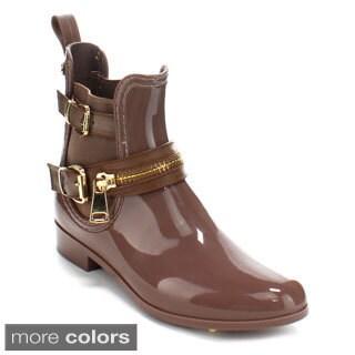 Forever Women's 'Dottie-8' Pull-on Ankle Rain Boots