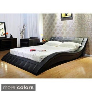 Black Wave Design Upholstered Cal King Bed