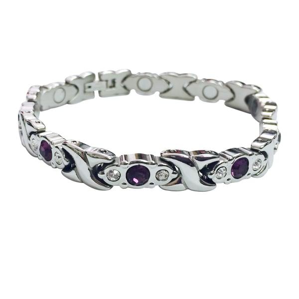 Stainless Steel Crystal Magnetic Bracelet