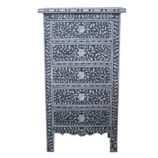 Floral Pattern Bone Inlay 5-drawer Chest
