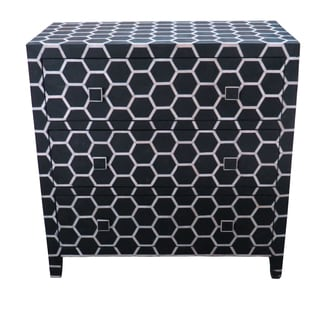 Black Honeycomb Design Bone Inlay 3-drawer Chest