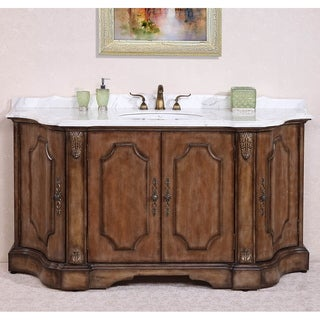 Legion Furniture Volakas White Marble Top Antique Tan Finish 68-inch Single Sink Bathroom Vanity