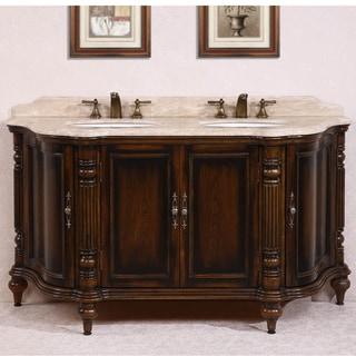Legion Furniture White Travertine Top Antique Brown 67-inch Double Sink Bathroom Vanity