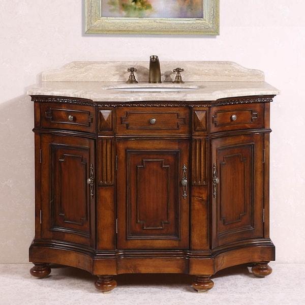 White Travertine Top Medium Brown 48inch Single Sink Bathroom Vanity