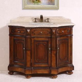 Legion Furniture White Travertine Top Medium Brown 48-inch Single Sink Bathroom Vanity