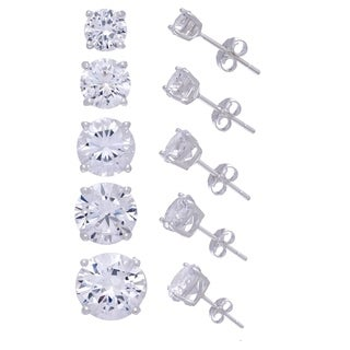 Gioelli Set of 5 Sterling Silver Cubic Zirconia 4-8mm Earrings