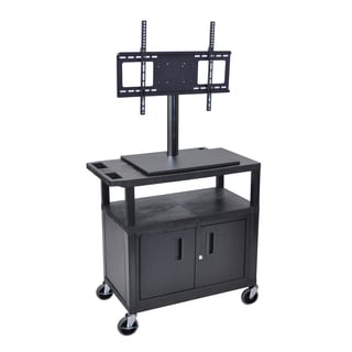 Luxor Short TV Cart with Cabinet and Electrical Outlet