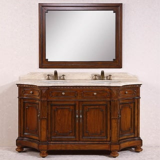 Legion Furniture White Travertine Top Antique Brown 68-inch Double Sink Bathroom Vanity with Matching Mirror