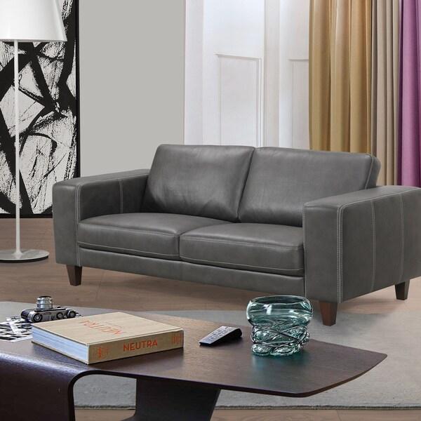 Modern Grey Leatherette Sofa