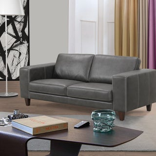 Modern Grey Leatherette Sofa