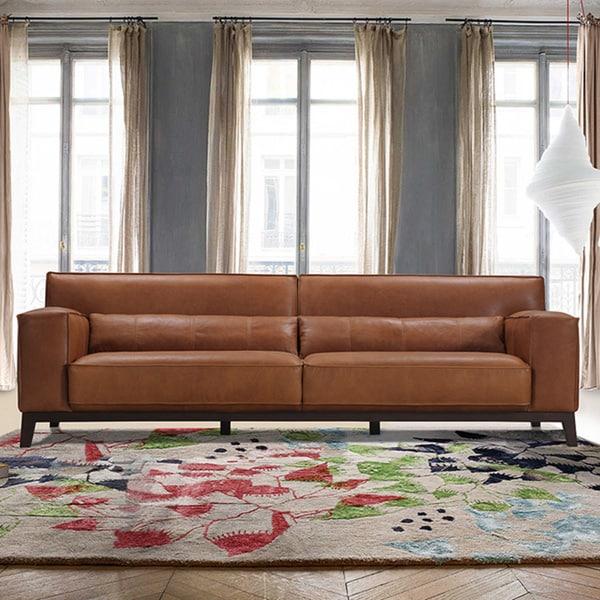 Cognac Brown Leather Track Arm Plinth Base Sofa