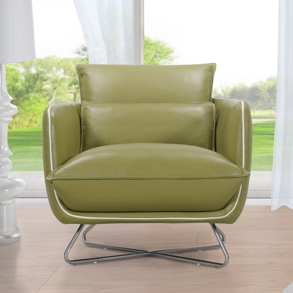 Hosta Lime Green Top Grain Leather Accent Chair