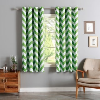 Lights Out Chevron Print Room Darkening Grommet Top 63-inch Curtain Panel Pair