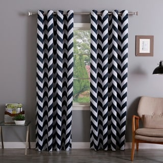 Lights Out Chevron Print Room Darkening Grommet Top 96-inch Curtain Panel Pair