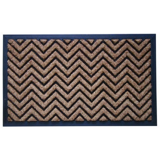 Molded Natural Brush Chevron Design Doormat