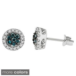 Sterling Silver 1/2ct TDW Diamond Halo Stud Earrings (H-I, I1-I2)