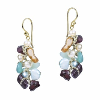 Colorful Cluster Multi Stone Brass Dangle Earrings (Thailand)
