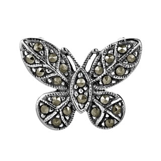 Vintage Marcasite Butterfly Slide Sterling Silver Pendant (Thailand)