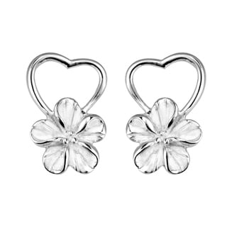 Pure Heart Hawaiian Plumeria Flower .925 Silver Earrings (Thailand)