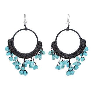 Modern Dangle Blue Turquoise Hoop Chandelier Earrings (Thailand)