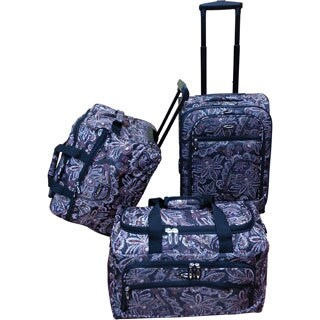 Jourdan Chocolate Paisley 3-piece Carry-on Luggage Set