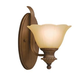 Transitional 1-light Parisian Bronze Wall Sconce with Etched Sunset Glass
