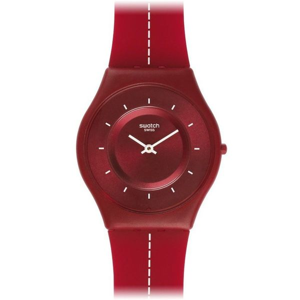 Swatch Men's Skin SFR104 Red Silicone Swiss Quartz Red Dial Watch