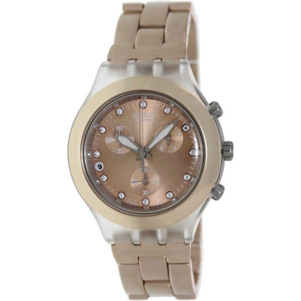 Swatch Men's Full Blooded SVCK4047AG Crystal Stainless Steel Quartz Beige Dial Watch