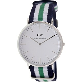 Daniel Wellington Men's Nottingham 0208DW Multicolor Nylon Quartz White Dial Watch