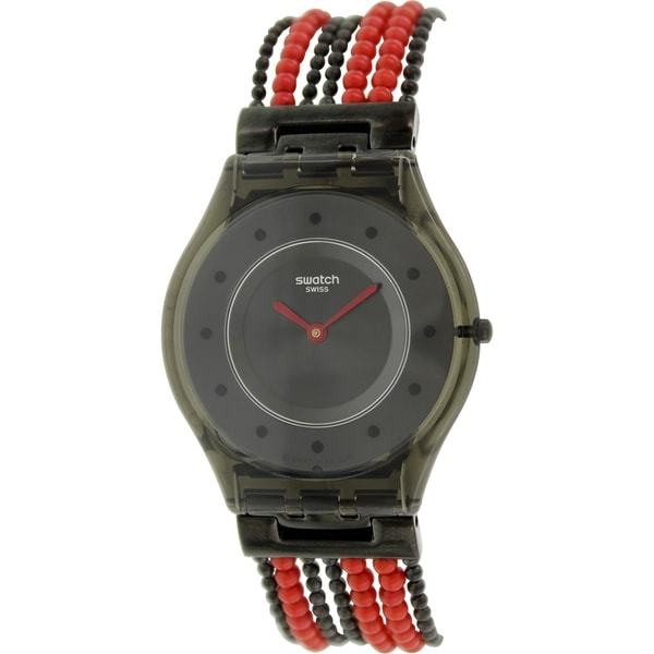 Swatch Women's Skin SFM130G Two-tone Bead Swiss Quartz Black Dial Watch