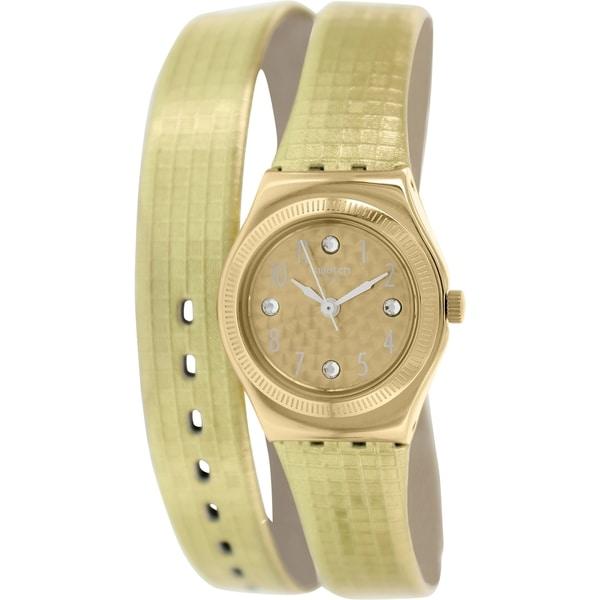 Swatch Women's Irony YSG135 Goldtone Leather Swiss Quartz Watch