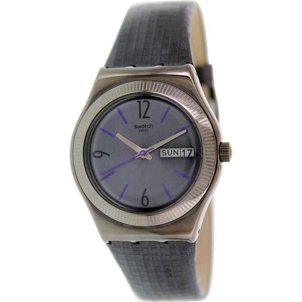 Swatch Women's Irony YLM700 Black Leather Swiss Quartz Watch