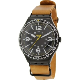 Swatch Men's Irony YWB402 Brown Leather Swiss Quartz Watch with Black Dial