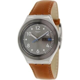Swatch Men's Irony YGS775 Brown Leather Swiss Quartz Watch