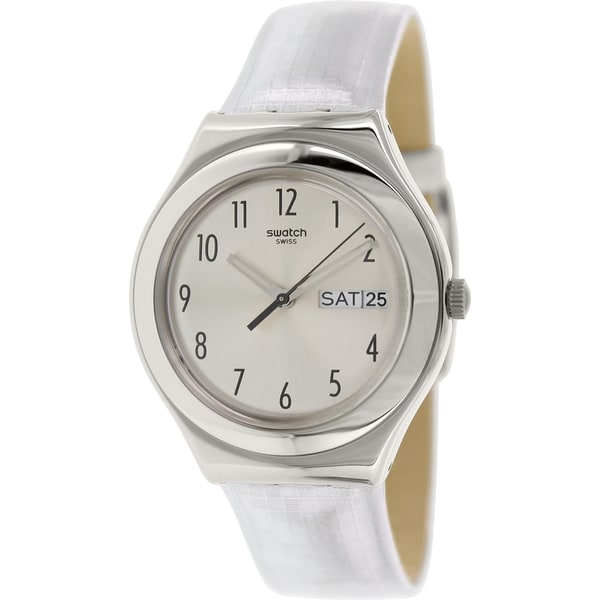 Swatch Women's Irony YGS773 Silver Leather Swiss Quartz Watch with Silver Dial