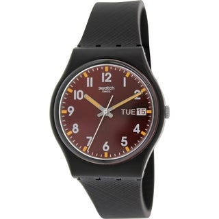 Swatch Women's Originals GB753 Black Silicone Swiss Quartz Watch with Red Dial