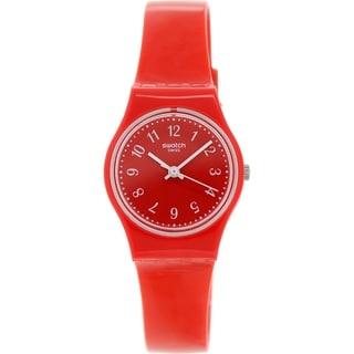 Swatch Women's Originals LR127 Red Plastic Swiss Quartz Red Dial Watch