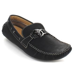 Deli Aldo Men's 'Mpx-13006' Black Metal Buckle Casual Loafers