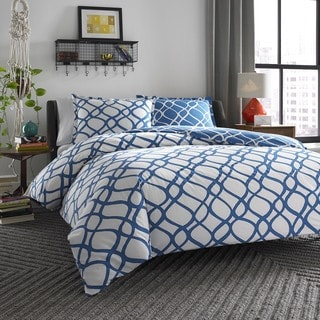 City Scene Arlo Reversible 3-piece Cotton Duvet Cover Set