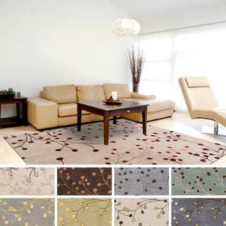 Hand-tufted Sakura Branch Floral Square Wool Area Rug (9'9 Square)
