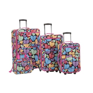 Rockland Hearts Medley 4-piece Expandable Wheeled Rolling Upright Luggage Set