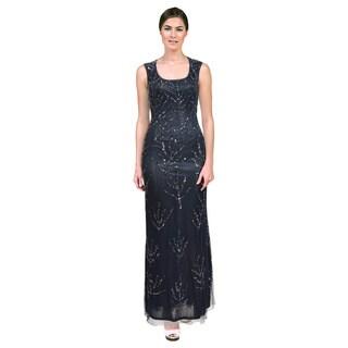 Aidan Mattox Women's Blue Sequined Cut-out Back Dress