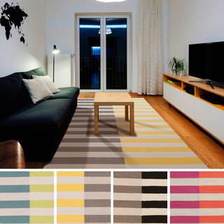 Hand-woven Lichfield Flatweave Striped Wool Rug (3'6 x 5'6)