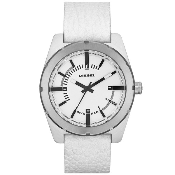 Diesel Men's DZ1599 Stainless Steel White Dial Leather Watch