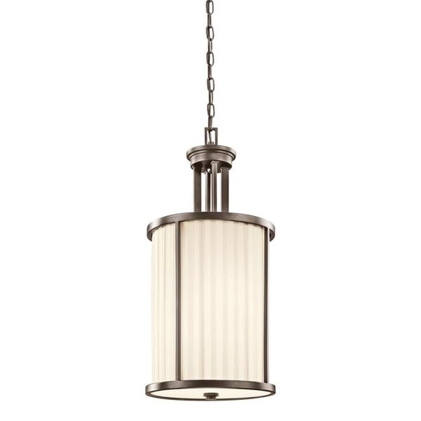 Transitional 4-light Olde Bronze Pendant with Light Beige Fabric Shade