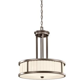 Transitional 3-light Olde Bronze Pendant with Light Beige Fabric Shade