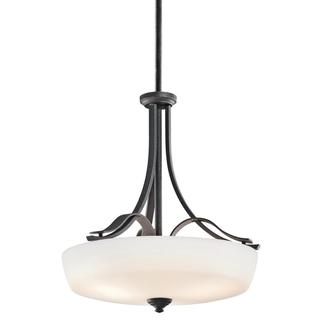 Transitional 3-light Distressed Black Pendant with Satin Etched Cased Opal Glass Shade