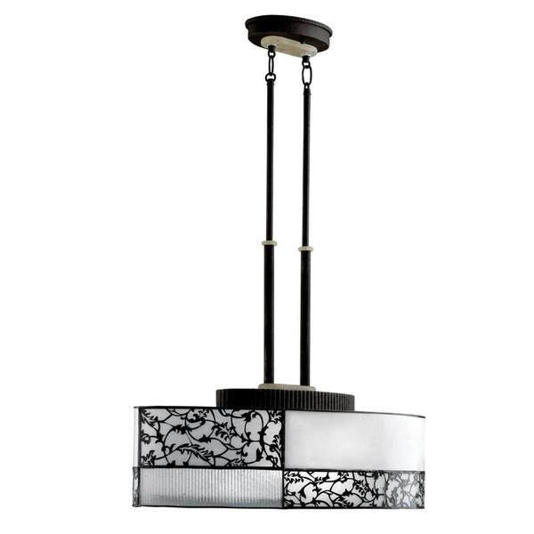 Transitional 2-light Distressed Black Pendant with White and Black Overlay Glass