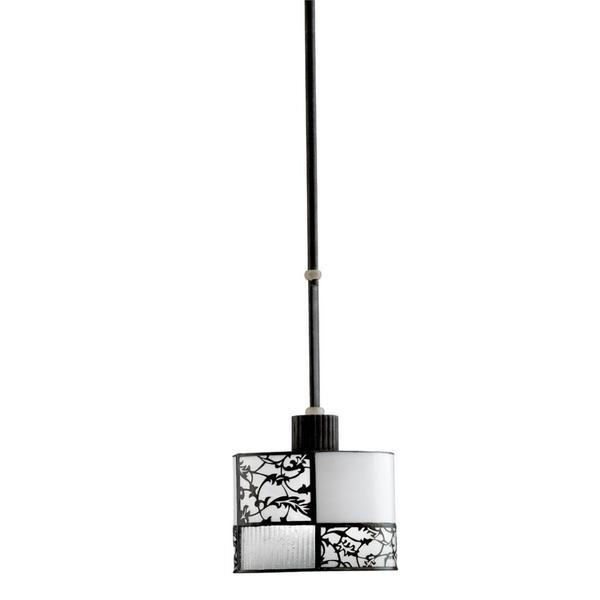 Transitional 1-light Distressed Black Mini Pendant with White and Black Overlay Glass