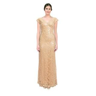 Tadashi Shoji Women's Beige Sequin Lace Cap Sleeve Evening Dress